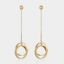 Caromay Double Rings Champagne Gold Earrings (E0886)