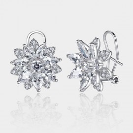 Caromay Crystal Daisy Silver Earrings (E1336)