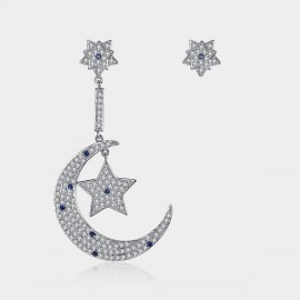 Caromay Uneven Moon With Stars Silver Earrings (E1421)