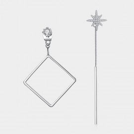 Caromay Uneven Geometric Lines Silver Earrings (E1503)