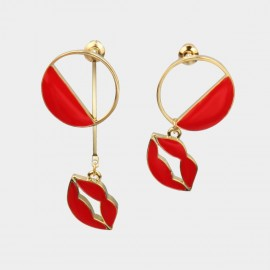 Caromay Uneven Sexy Lips Red Earrings (E1732)