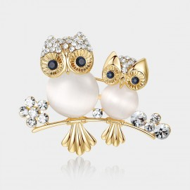 Caromay Owl Family Champagne Gold Brooch (T0184)