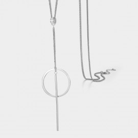 Caromay Geometric Lines Silver Long Chain (X1213)