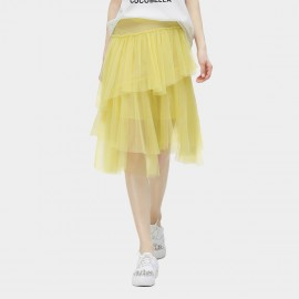 Cocobella Layered See Through Light Mesh Irregular Yellow Skirt (DS566)
