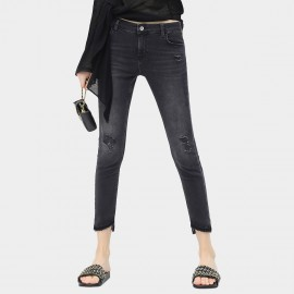 Cocobella Stoned Cropped Tassel Grey Jeans (PT285)