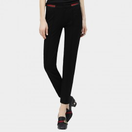 Cocobella Green And Red Contrasting Strips Straight Cut Black Pants (PT296)