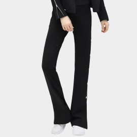 Cocobella Side Buttons Split Cuffs Flared Black Pants (PT297)