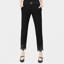Cocobella Patching Lace Cuffs Slim Fit Black Pants (PT300)