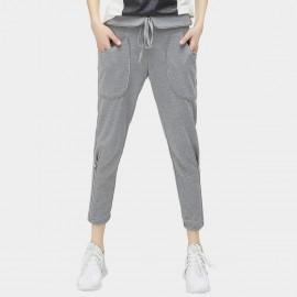 Cocobella Wide Pockets Drawstring Silver Zips Sporty Grey Pants (PT301)