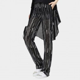 Cocobella Negative Zebra Strip Patterned Light Chiffon Harlem Black Pants (PT315)