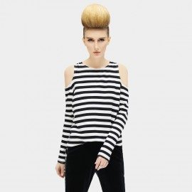 Cocobella Black And White Hollow Shoulders Stripe Knits (TE410)