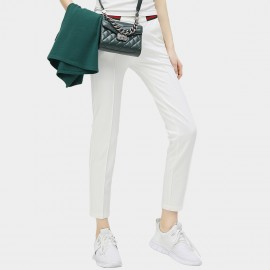 Cocobella Green And Red Contrasting Strips Straight Cut White Pants (PT296)