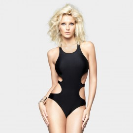 Balneaire Halter Neck Hollow Sides Black One Piece (60700)