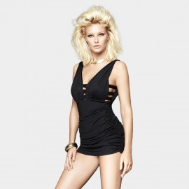 Balneaire V Neck Plunging Hollow Out Black One Piece (60701)