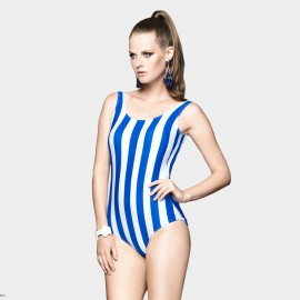 Balneaire Vintage Lollipop Strips Low Back Blue One Piece (60703)
