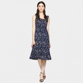 SSXR Sleeveless Rose Patterned and Flowered Navy Dress (5457)