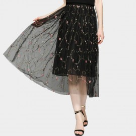 SSXR See-Thru Midi Flowered Black Skirt (5500)