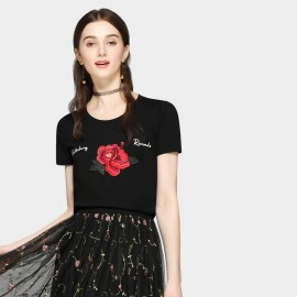 SSXR Red Rose Pattern Black Tee (6300)