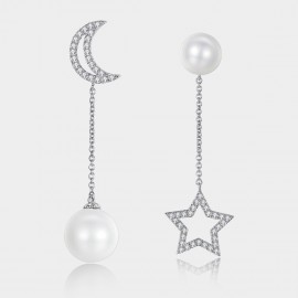 Caromay Moon Star Tassel Silver Earrings (E0827)