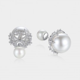 Caromay Front-Back Pearl Double-Sides Wearing Silver Earrings (E1756)
