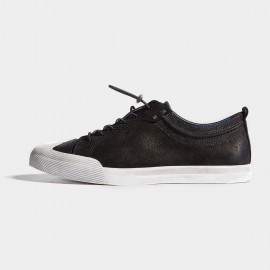 Herilios Black Cozy Leather Sneakers With Contrast White Ripple Top (H7105D68)