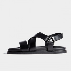 Herilios Black Plain Leather Smooth Strap Sandals With Triangular Buckles (H7105L12)