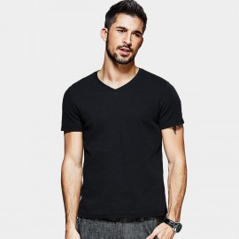 Kuegou Strips Textured Black Tee (MT-1536)