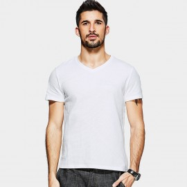 Kuegou Strips Textured White Tee (MT-1536)