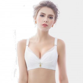 Olanfen Silky Butterfly Knot Mesh Detachable Straps Underwire Push Up Demi Cup White Bra (W6014)