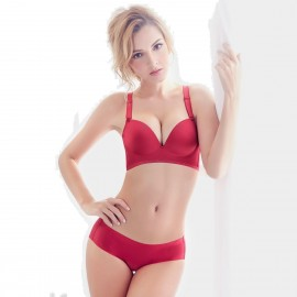 Olanfen Convertible Full Support Moulded Cup Plunge Bra Underwear Red Set (T6014)