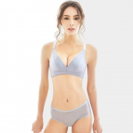 Olanfen High Platform Plunging Cut And Sew Bra Underwear Grey Set (T6025)