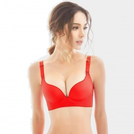 Olanfen Dotted Gradient Minimalistic Oush Up Convertible Red Bra (W6071)
