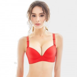 Olanfen Invisible Seamless Push Up Convertible Red Bra (W6072)