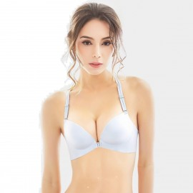 Olanfen Lace Racer Back Front Hook Push Up Silver Bra (W6077)