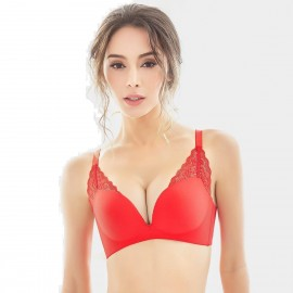Olanfen Lace Layers Push Up Convertible T Shirt Red Bra (W6056)