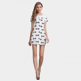 SSXR Puffy Butterfly Knots Pattern Print White Dress (5210)