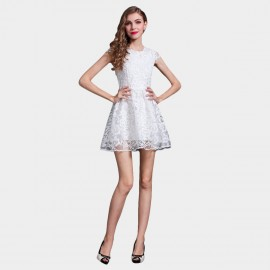 SSXR See-Thru Lace Lifted Waist White Dress (5211)