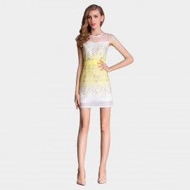 SSXR See-Thru Gauze Patterned Yellow Dress (5221)