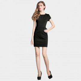 SSXR Puff Sleeves Pocket Black Dress (5226)