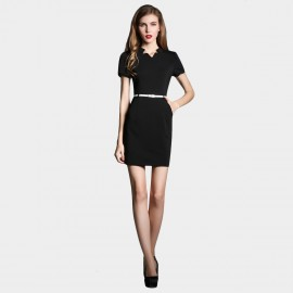 SSXR Short Sleeved Body Con Black Dress (5227)