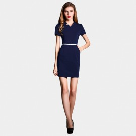 SSXR Short Sleeved Body Con Navy Dress (5227)