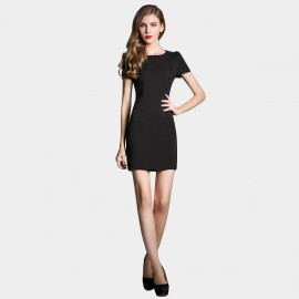 SSXR Drape Sleeved Button Deco Black Dress (5229)