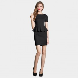 SSXR Faux Two Piece Body Con Black Dress (5230)