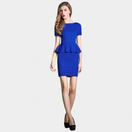 SSXR Faux Two Piece Body Con Blue Dress (5230)
