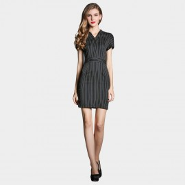 SSXR Vertical Stripes Contours Black Dress (5233)