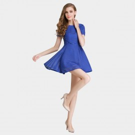 SSXR See Thru Mesh Trumpet Blue Dress (5237)