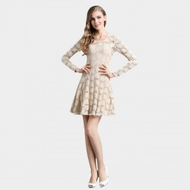 SSXR See Thru Rose Gauze Beige Dress (5264)