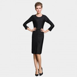 SSXR Mid Sleeved Knee Length Stripes Black Dress (5288)