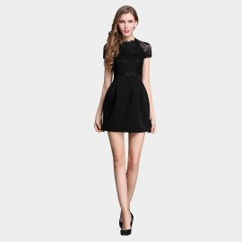 SSXR See Thru Sleeves Material Mix Black Dress (5326)