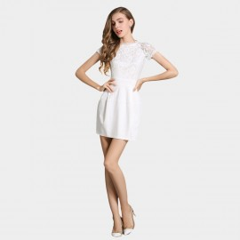 SSXR See Thru Sleeves Material Mix White Dress (5326)
